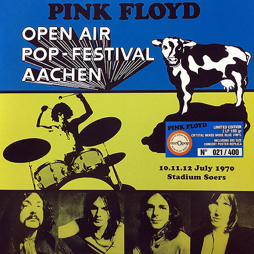PINK FLOYD 2xLP Open Air Pop Festival, Aachen (Crystal Blue Coloured Numbered)