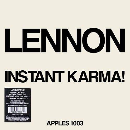 """LENNON/ONO WITH THE PLASTIC ONO BAND 7"""" Instant Karma! (RSD Drops August 2020)"""