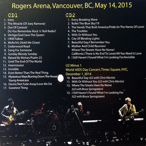 U2 2xCD Roger Arena, Vancouver, BC, May 14, 2015