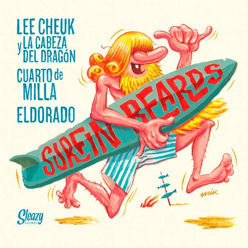 """SURFIN' BEARDS 7""""+Cd Lee Cheuk Y La Cabeza Del"""