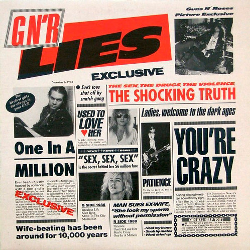 GUNS AND ROSES LP G N' R Lies (Uncensored Cover with insert)