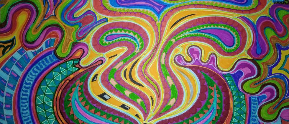 DESSIN chakra racine psychedelique, Vata