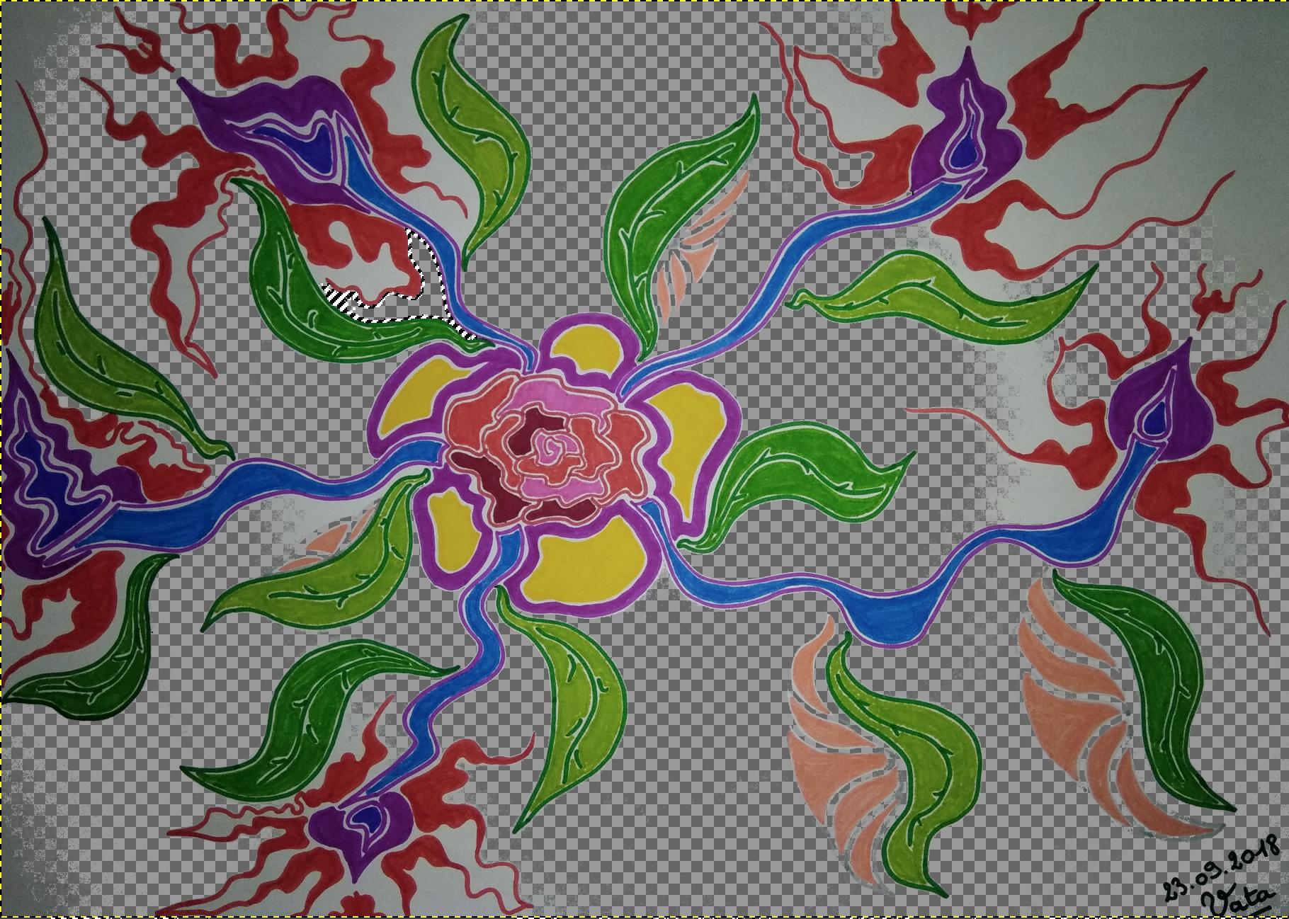 Dessin fleurs fin septembre 2018 Vata De