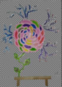 Tableau peinture acrylique fleurs vata d