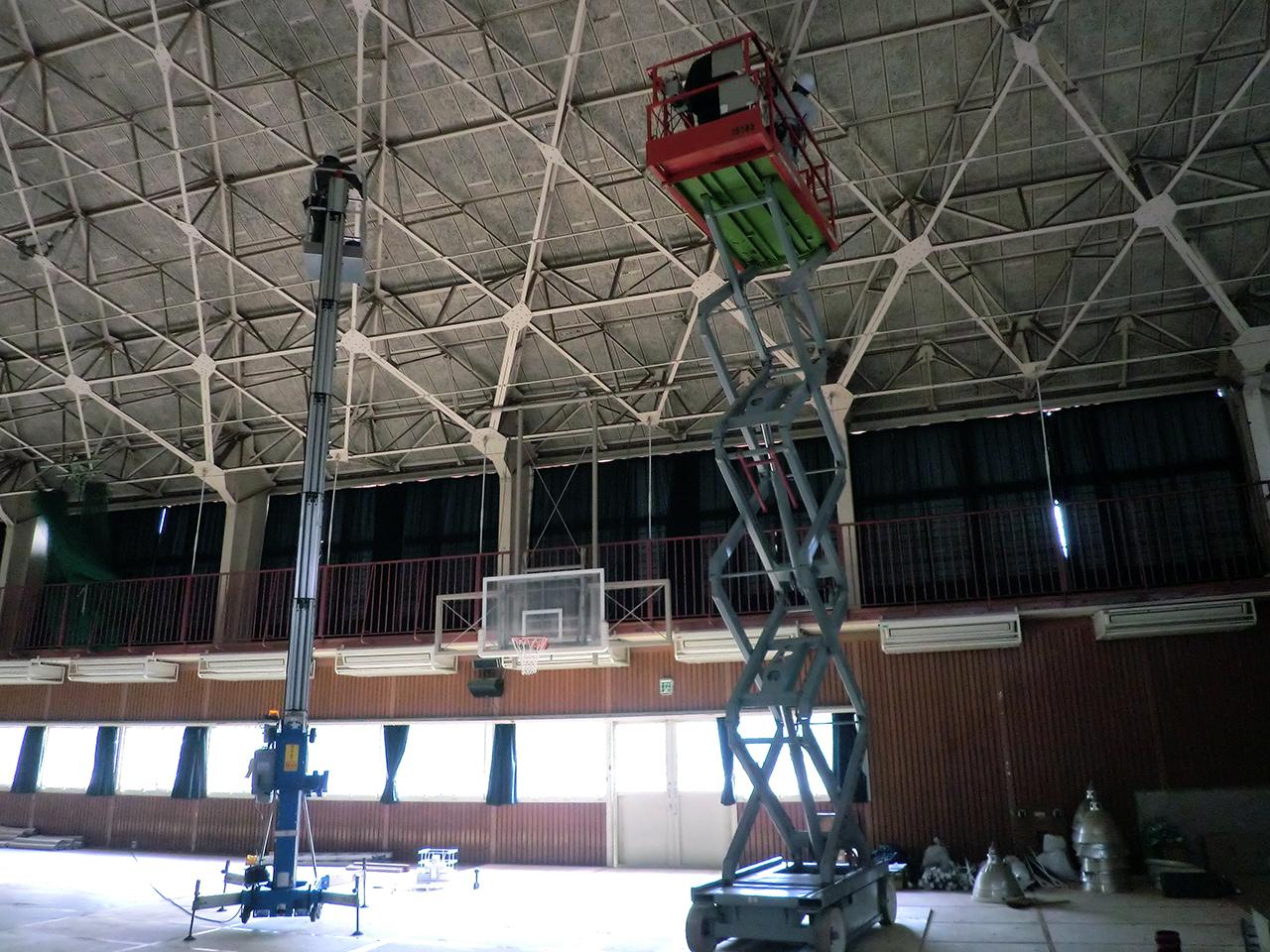 体育館天井照明交換工事