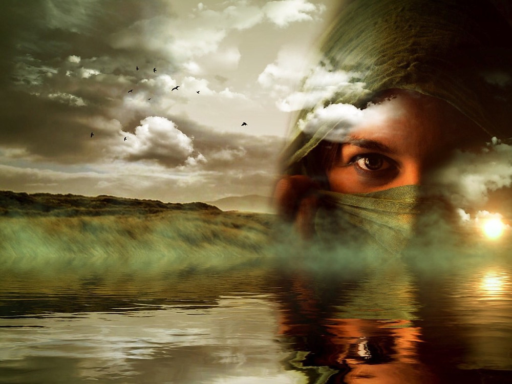 Woman Reflection in Water with Mountain Landscape