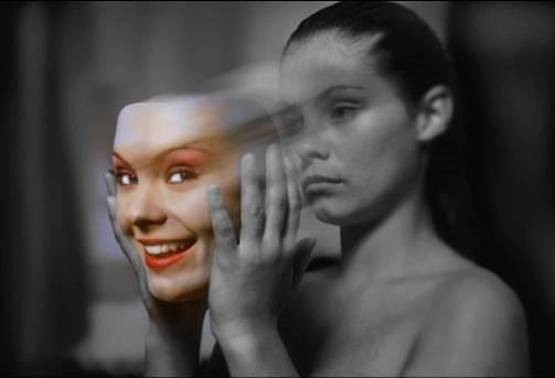 Woman Revealing True and False Self