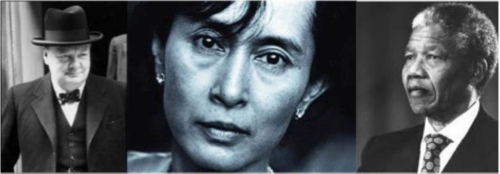 Winston Churchill,  Aung San Suu Kyi, Nelson Mandela