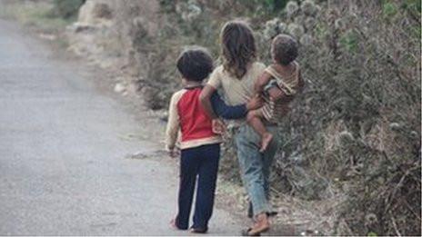 Children Walking Along the Road
