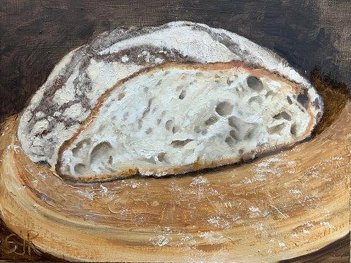 Sourdough bread on Ida's breadboard