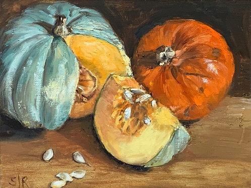 Blue and orange pumpkins