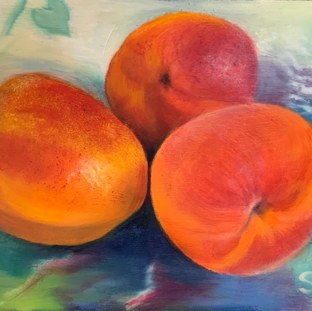 3 Apricots on a plate