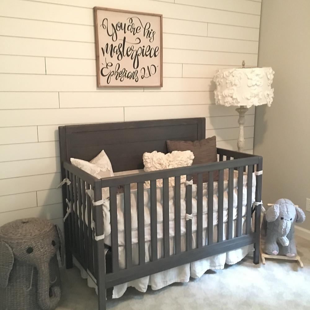 shiplap neutral baby nursery