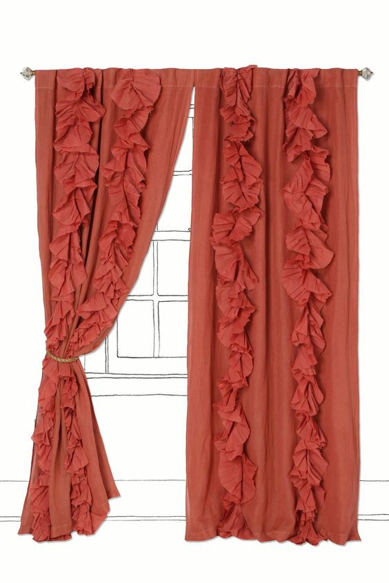 Coral Anthropologie Curtains