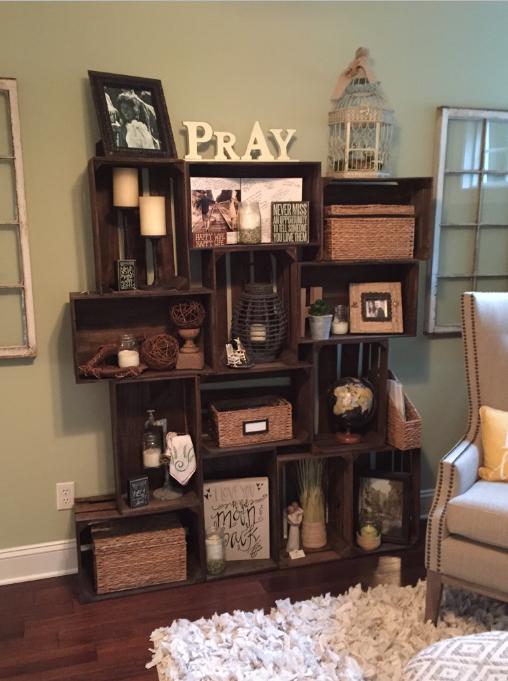 decorated crate bookshelf