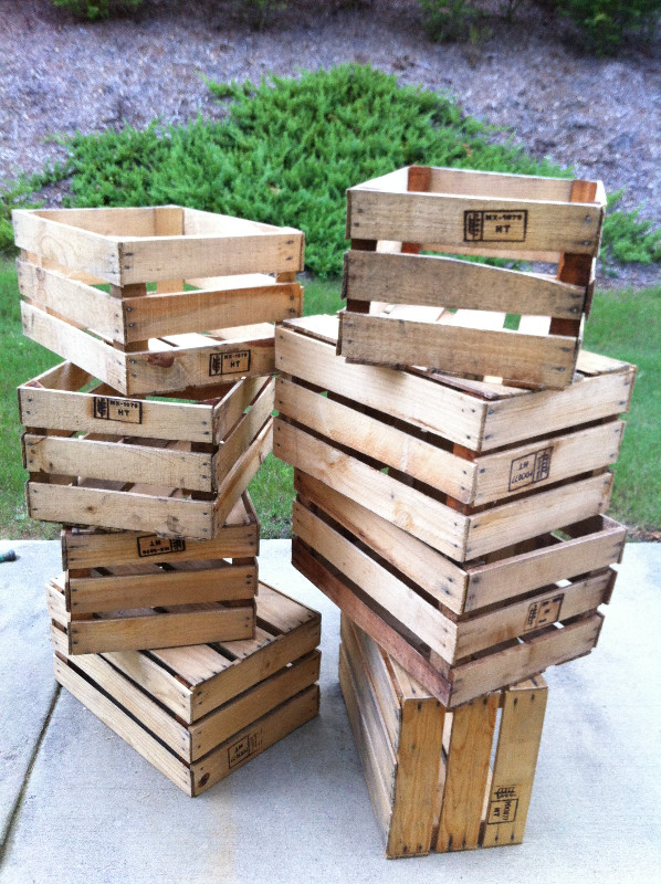 stack of produce crates