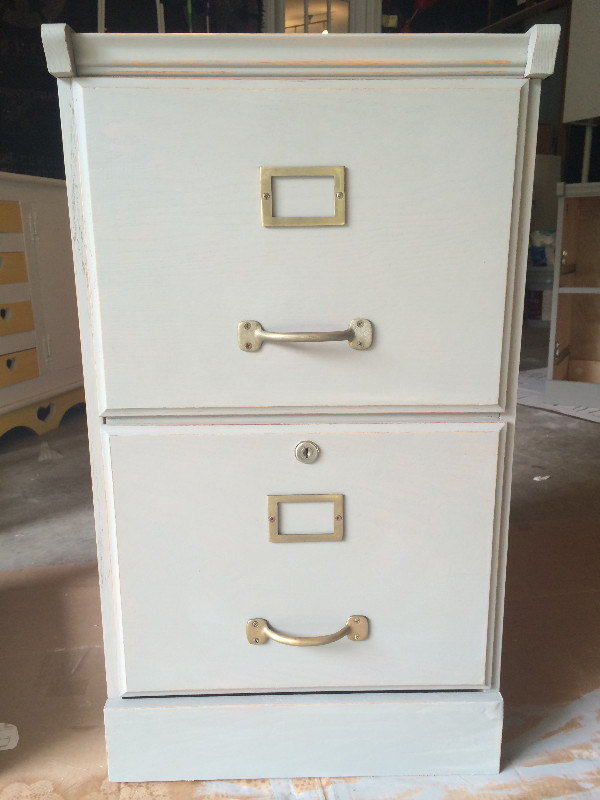 gray painted filing cabinet