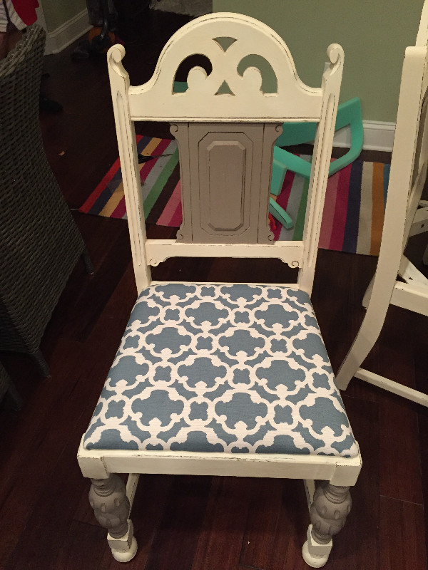 chalk painted and reupholstered kitchen chair final product