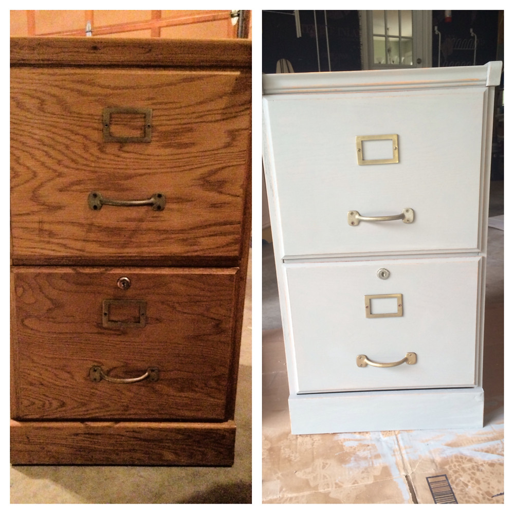 before and after painted file cabinet