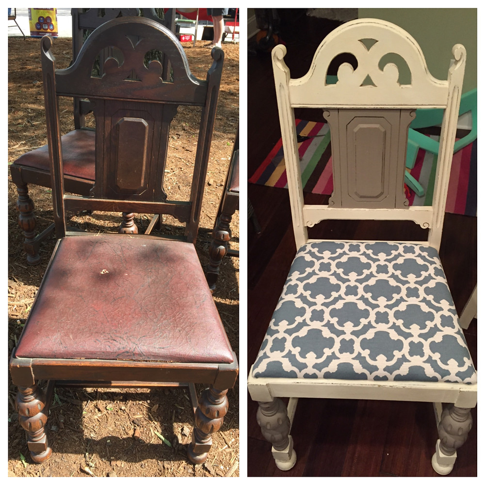 before and after kitchen chair makeover