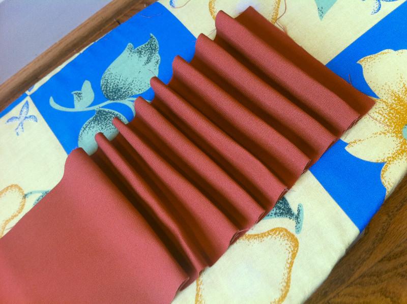 accordion folded fabric for ruffles