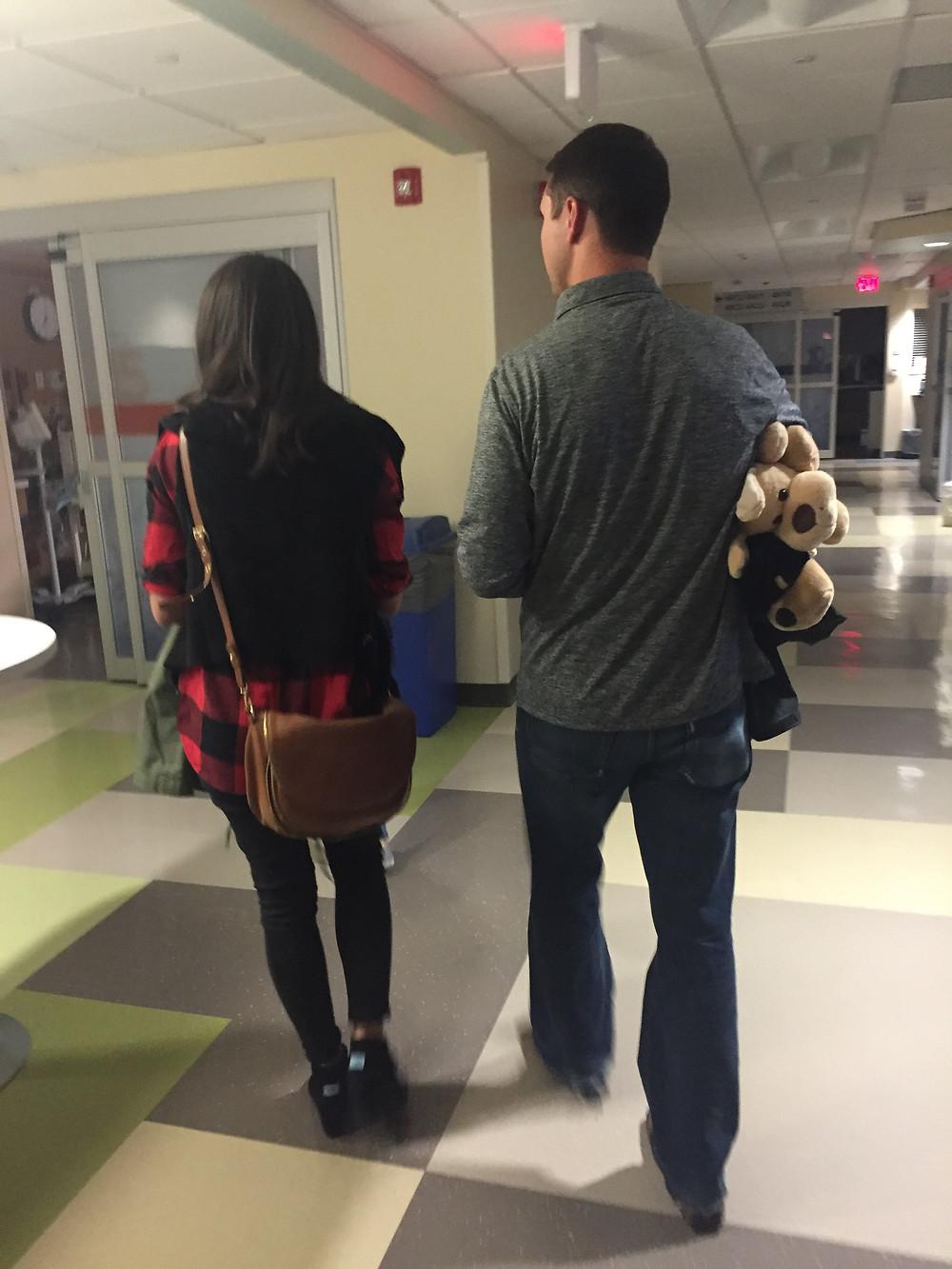 Walking down the hospital hallway