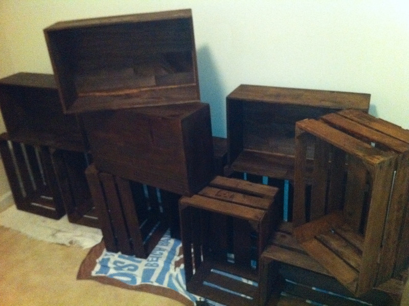 stack of stained crates