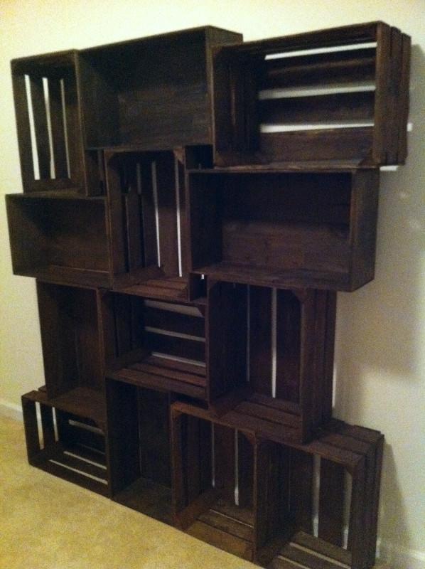empty finished crate bookshelf
