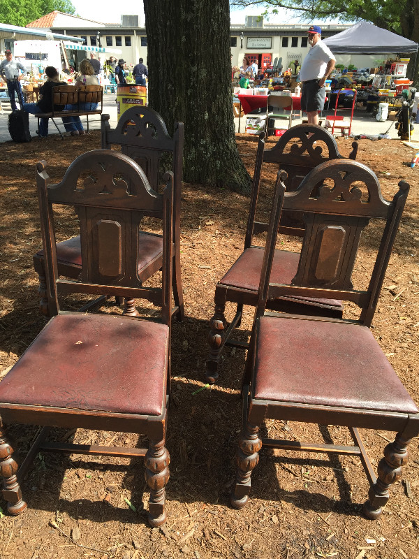 old wooden kitchen chairs at flea market