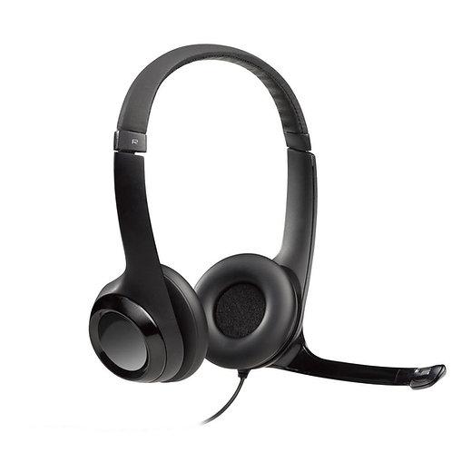 Headset Logitech H390 Áudio Digital em Couro USB Preto 981-000014