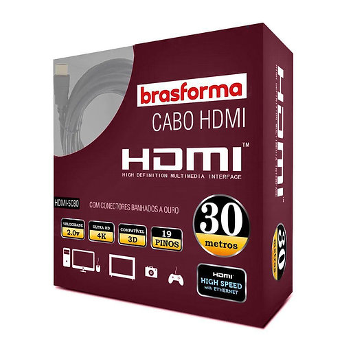 Cabo HDMI Brasforma 30 Metros 4K Ultra HD 3D HDR 2.0 19 Pinos 5030