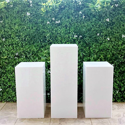 Set of 3 White Square Plinths