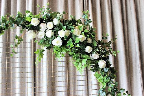 Faux White Roses Floral Arrangement