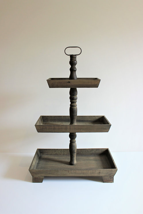 Rustic Wooden Three Tier Square Cake Stand