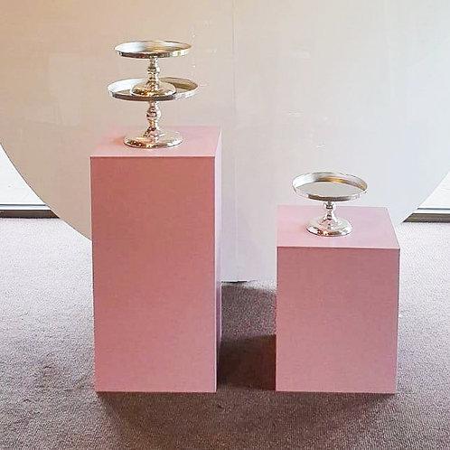 Pink Square Plinth 50cm