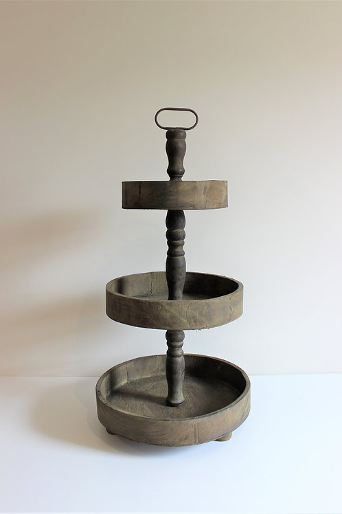 Rustic Wooden Three Tier Round Cake Stand