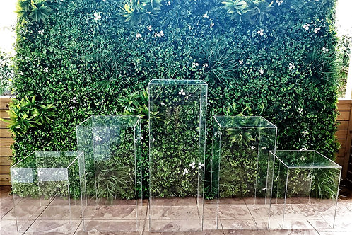 Set of 5 Square Clear Plinths