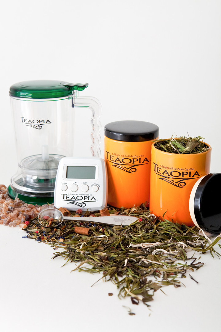 Steeper, Loose Tea Canisters and Timer - Beverage Product Photo Grouping