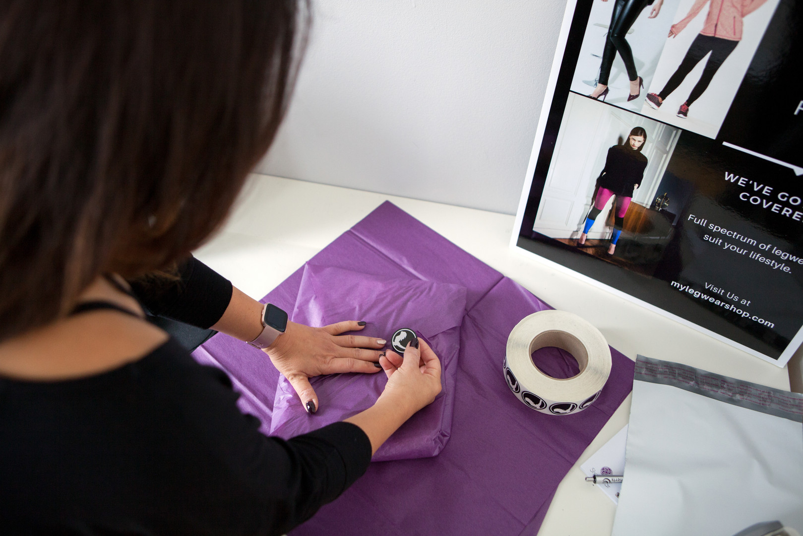 Antonella owner of My Legwear Shop Personal Brand Photography - Wrapping Product