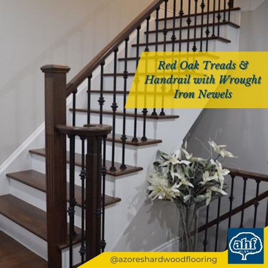 Red Oak Treads & Wrought Iron Newels