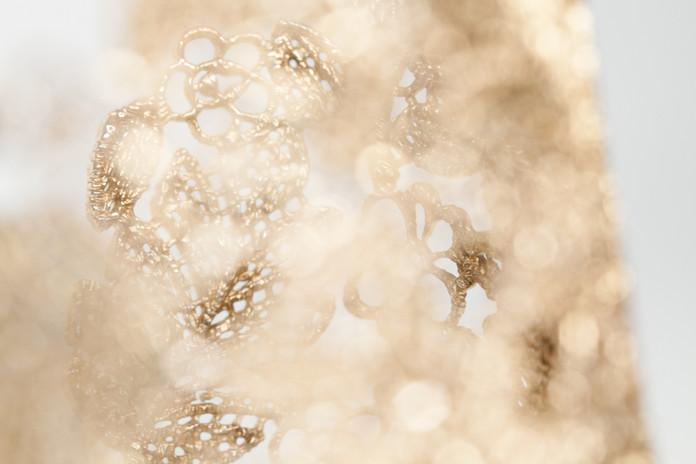 Ornate Gold Leaf Bracelet Up Close - Jewelry Photography