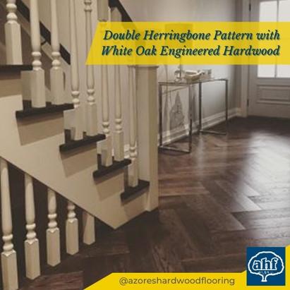 Double Herringbone Flooring with Modern Stair Update
