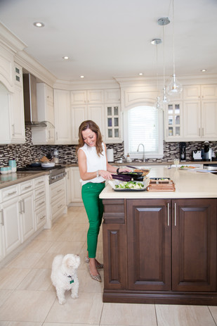 Viky Rose Influencer Blogger Entrepreneur Photoshoot - Looking at Dog