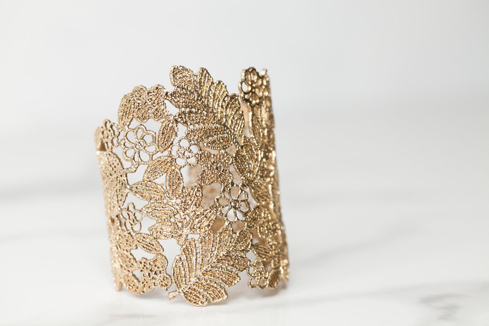 Ornate Gold Leaf Bracelet - Jewelry Photography