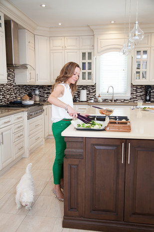 Viky Rose Influencer Blogger Entrepreneur Photoshoot - Preparing Food