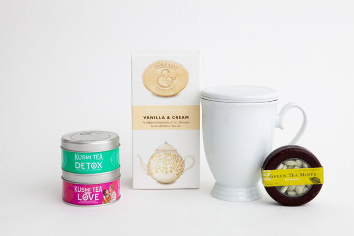 Tea, Biscuits, Mints and Tea Cup - Product Grouping Photography