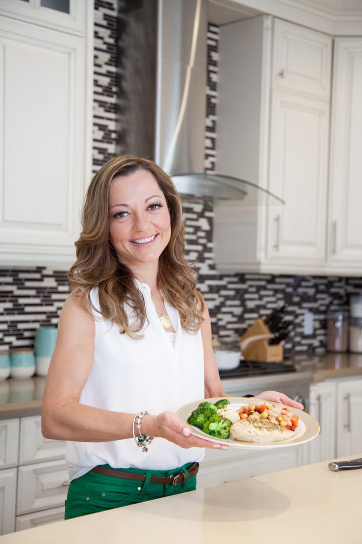 Viky Rose Influencer Blogger Entrepreneur Photoshoot - Displaying Food