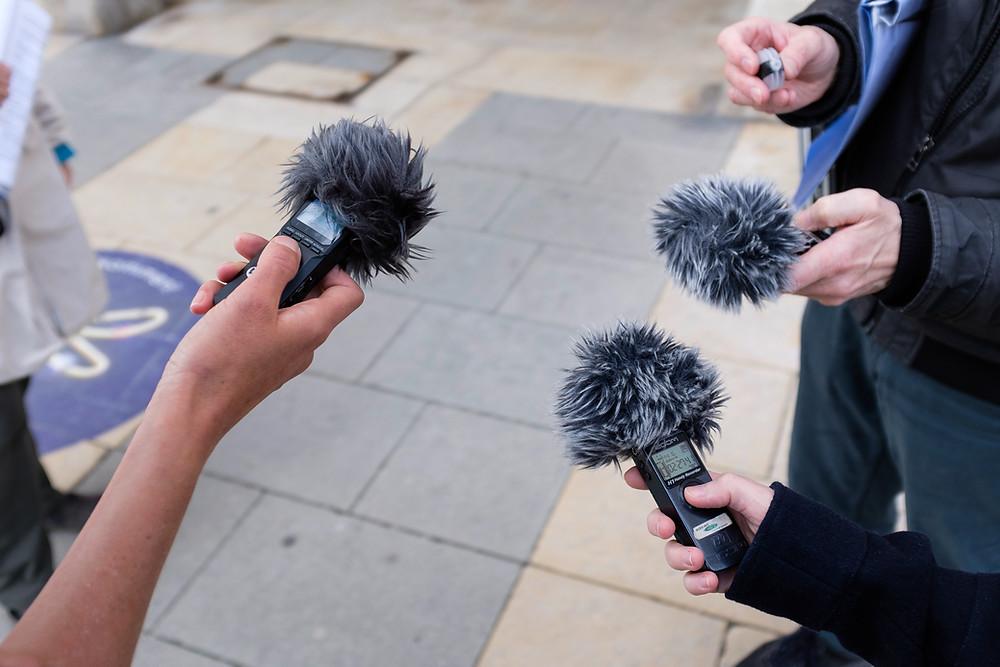 Sound Test der Mikrofone für die Radio Orange Interviews
