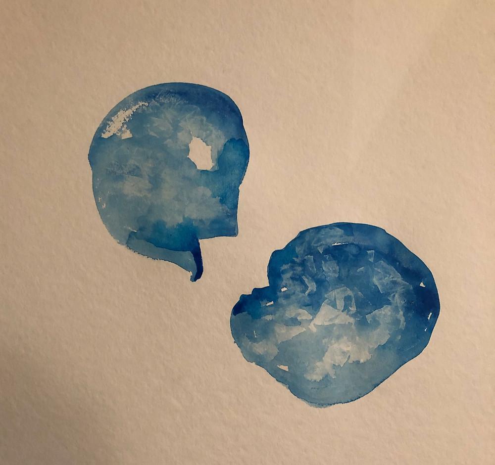Blaue Auqarellmalerei