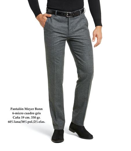 Pantalón Meyer Bonn 6-micro cuadro gris